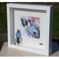 FRAME (23x23x4.5cm) with figurine Joe SIFFERT & picture, white