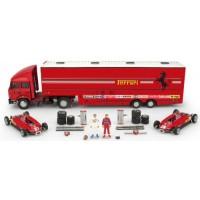 SET Race Transporter Ferrari GP SanMarino'82 including FIAT IVECO 190; FERRARI 126 C2 #27 & #28; 2 figurines & accessoires