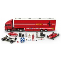 SET Race Transporter Ferrari GP SanMarino'82 including FIAT IVECO 190; FERRARI 126 C2 #27 & #28; 2 figurines & accessoires (limited 50)