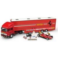 SET Race Transporter Ferrari GP SanMarino'82 including FIAT IVECO 190; FERRARI 126 C2 #27; 3 figurines & accessoires
